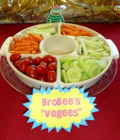 Yo Gabba Gabba party decorations snack table Brobee vegees veggies