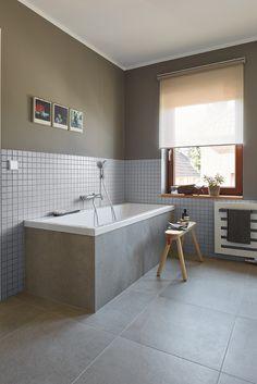 Privathaus Bonn, Badezimmer, Agrob Buchtal Fliese Trias, zinkgrau, 60x60 / Mosaik Serie Plural, lichtgrau, 5x5