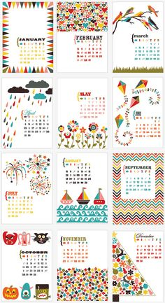 2012 5x7 Desk Calendar bold bright fun NOW 50 OFF by PagebyPaige, $6.00