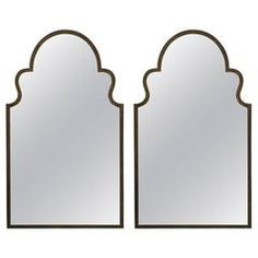 Pair of Acid Washed Pediment Mirrors