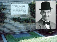 Stan Laurel, born Arthur Stanley Jefferson (June 16, 1890-February 23, 1965), most famous for his role in the comedy duo Laurel and Hardy. With his comedy partner Oliver Hardy he appeared in 107 short films, feature films and cameo roles. Laurel began his career in the British music hall, from where he took a number of his standard comic devices: the bowler hat, the deep comic gravity, and the nonsensical understatement. Laurel Et Hardy, Stan Laurel, Cemetery Headstones, Cemetery Art, Famous Tombstones, Gardens Of Stone, Abbott And Costello, Famous Graves, Celebrity Deaths