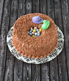 Make this cute Carrot Cake Birds Nest Cake recipe for Easter from Hezzi-D's Books and Cooks #cake