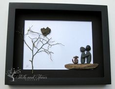 Unique Couple and Dog Gift- Personalized COUPLE'S Gift- SticksnStone Designs- Pebble Art Unique Wedding Gift - Pebble Art - Mixed Media by SticksnStone on Etsy Unique Wedding Gifts, Unique Gifts, Heart Shaped Rocks, Personalized Couple Gifts, Driftwood Crafts, Pet Rocks, Shadow Box Frames, Beach Crafts, Congratulations Card
