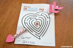 Cute and easy printable Valentine's maze for kids - by Balancing Home