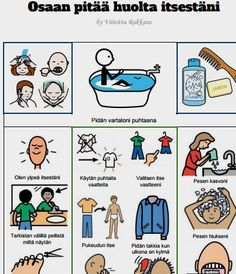 A4 kokoinen toimintataulu henkilökohtaisesta hygieniasta huolehtimiseen.
