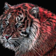 Red Fractal Tiger by Tracey Lee Art Designs