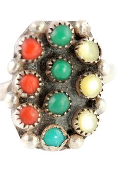 Vintage Zuni Snake Eye Sterling Silver Turquoise