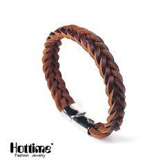 Hottime 2 Color Titanium Steel Multilayer Braided Leather Bracelets Men Bangle Men Jewelry Genuine leather Bangles For Mens PG41