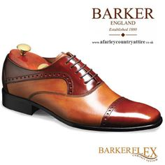 45d5439f7cb1 Barker Flex Shoes - Patrick- Oxford Style - Honey Hi-Shine  amp  Tan