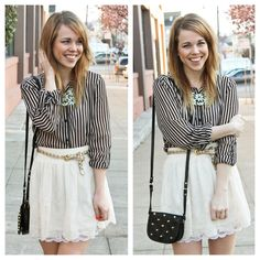 Charlotte Russe. Feminine skirt with edgy top.