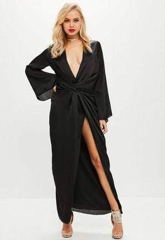 97a190d865d5 Black satin plunge kimono maxi dress 👗 #ad Kimono Fashion, Latest Fashion  For Women