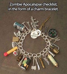 Zombie Apocalypse checklist, in the form of a charm bracelet.
