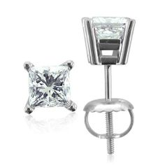 Platinum Princess Cut Diamond Stud Earrings (HI, I, 0.66 carat) Diamond Delight. $974.99. Save 42% Off!