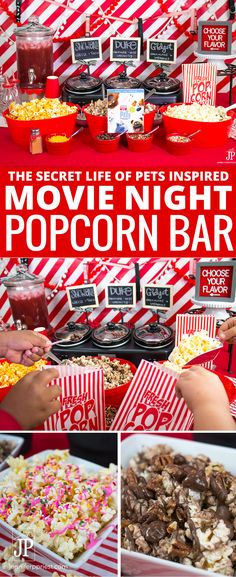 [AD] DIY Popcorn Bar: To celebrate that The Secret Life of Pets is now on Blu-ray and DVD, we created a DIY popcorn bar with flavors inspired by the movie's characters. Get the recipe to create THREE The Secret Life of Pets inspired popcorn mixes for your Popcorn Bar Party, Birthday Popcorn, Party Snacks, Sundae Party, Backyard Movie Party, Backyard Movie Nights, Backyard Bar, Party Outdoor, Backyard Fireplace