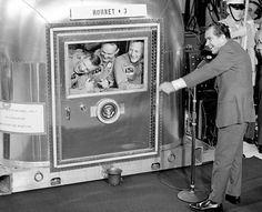 President Nixon visits the Apollo II Astronauts in quarantine, July, 1969