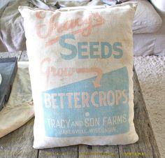Farmhouse Pillow Vintage Feed Sack Tracy's Seeds by NavarreCharm, $27.00