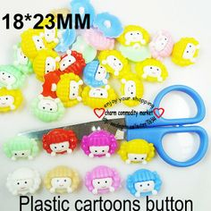 200PCS mixed color kids pattern plastic cartoons cloth  buttons  jewelry accessory P-058 $5,22