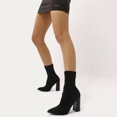 261c0db1b246 Libby Flared Heel Sock Fit Ankle Boots in Black Stretch