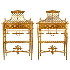 19th Century Rare Pair Of French Latticed Gilt Wood Chinoiserie Plant Holders | 1stdibs