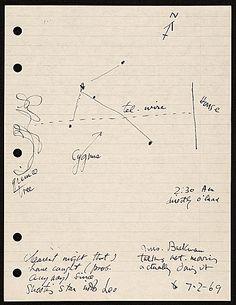 Joseph Cornell diary describing and illustrating the constellation Cygnus