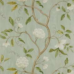Snow Tree by Colefax and Fowler - Aqua - Wallpaper : Wallpaper Direct Aqua Wallpaper, Cream Wallpaper, Fabric Wallpaper, Wallpaper Online, Oriental Wallpaper, Classic Wallpaper, Chinoiserie Wallpaper, Colefax And Fowler Wallpaper, Paper Fire