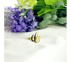 Personalized Gold Plated Silver 925 Carrie Style Name Ring 0.59 Initial Ring CIR46