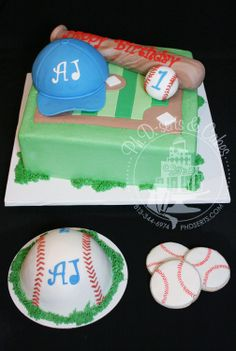 Baseball cake with edible ball, bat, hat...smash cake...and cookies!