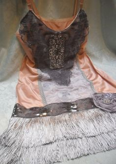 FLAPPER Great Gatsby 1920s Speakeasy Jazz Age Roaring 20s - Vintage Slip Make Over - Taupe and Gray