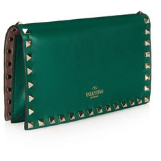 Valentino Rockstud small leather clutch ($1,325) ❤ liked on Polyvore featuring bags, handbags, clutches, leather handbags, real leather purses, blue leather purse, blue handbags and leather purse