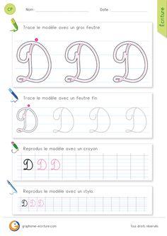 PDF Feuille d ecriture pour apprendre à écrire la lettre D MAJUSCULE en cursive.