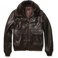 Schott G1 Shearling-Collar Leather Bomber Jacket ($488) ❤ liked on Polyvore…