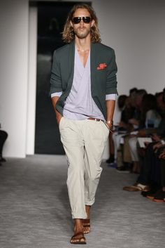 Michael Bastian Men's RTW Spring 2013 - Runway, Fashion Week, Color combo: light violet & steel gray