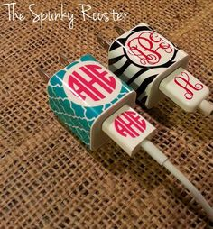 iPhone/iPod Charger Monogrammed Decal  by TheSpunkyRooster on Etsy, $4.50