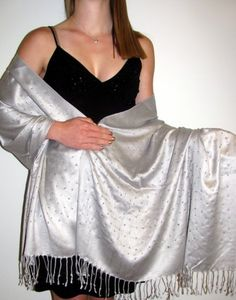 Silver shawl that is divine for your evening wrap shawl needs. http://www.yourselegantly.com/silver-shawl-with-sparkles-divine.html