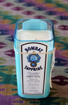 Lavender candle, Bombay Sapphire Gin Liquor Bottle Candle, Handmade Scented Soy Candle, Recycled Liquor Bottle, Gift For Him Under 45 by EKPcreations on Etsy