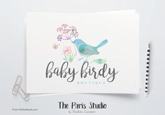 DIY Instant Download Watercolor Floral Bird Logo Photoshop Logo Template #LogoDesign #EtsyShop Cover #Wordpress #Website Header Blog #Branding  #restaurant logo design