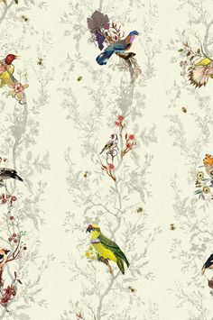 Birds n Bees Wallcovering wallpaper from Timorous Beasties in Duck Egg Blue Bird Wallpaper, Fabric Wallpaper, Pattern Wallpaper, Amazing Wallpaper, Vine And Branches, Bee Fabric, Timorous Beasties, Contemporary Fabric, Textiles