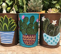 Hand painted using acrylics and seal for durability. Tin Can Crafts, Diy Crafts To Sell, Arts And Crafts, Painted Plant Pots, Painted Flower Pots, Formula Can Crafts, Painted Tin Cans, Tin Can Art, Recycled Home Decor