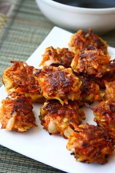 Crispy Vegetable Fritters with Spicy Balsamic Sauce (No cheese, butter, or eggs and fried with olive oil)