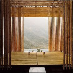 tea at Kengo Kuma's Great (Bamboo) Wall house, China