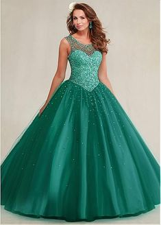 Fabulous Tulle Scoop Neckline Ball Gown Quinceanera Dresses With Beadings & Rhinestones & Detachable Wrap