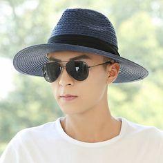 ade50f1f088 Beach straw panama hat for men UV sun hats outdoor travel wear