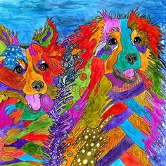 """Whimsical abstract """"Border Collie and Australian Shepherd"""" named Moon and Nelson finished 4-9-17. A 12-pack of note cards are available for $23.00. Pillows, mouse pads, light switch covers, mugs, totes, canvas art, clothing and much more are available at my Zazzle Store. Please visit www.zazzle.com/kathleenartcreations"""