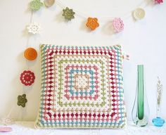 crochet pillow and garland