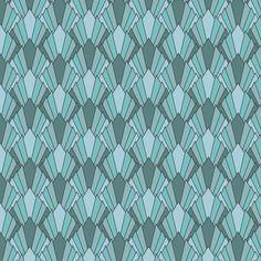 Art deco diamond fans, turquoise fabric by su_g on Spoonflower - custom fabric
