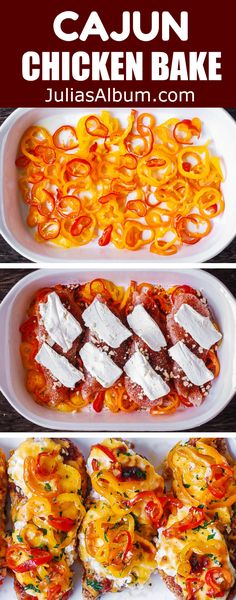 Spicy and Creamy Cajun Chicken with Bell Peppers - easy, lean, and healthy one-pan dinner! The chicken breasts are coated with the homemade Cajun seasoning and topped with cream cheese. Then, the chicken is oven-baked on top of the sliced bell peppers. Cajun Chicken Salad, Chicken Salad Recipes, Healthy Soup Recipes, Baked Chicken, Chicken Bell Pepper Recipes, Stuffed Bell Peppers Chicken, Stuffed Peppers Healthy, Cajun Recipes, Cooking Recipes