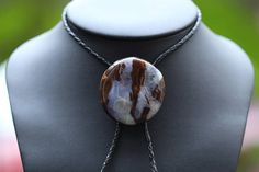 Extra Large Boulder Opal Bolo Tie with Blue Colour and Round Shape, Natural Australian Opal crafted into Unique Gemstone Fashion Jewellery. Statement Jewelry, Boho Jewelry, Jewelry Design, Jewellery, Boho Fashion, Fashion Jewelry, Bolo Tie, Australian Opal, Opal Gemstone