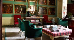 18th century apartment in Paris-Sitting Room, Mexican casta paintings,18th century giltwood mirror by Matthias Lock