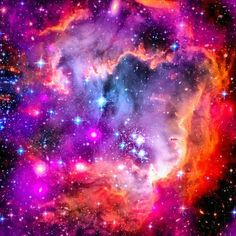 Space Image: Small Magellanic Cloud (SMC) is a small galaxy about 200,000 light-years away. It is one of the Milky Way's closest galactic neighbors. Wonderful pink, purple, orange and red colors and sparkling stars. Professionally enhanced with a special