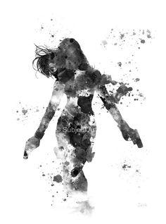 Ilustración de la viuda negra lámina, superhéroes, Marvel, Vengadores, Natalia Romanova, arte de la pared, decoración del hogar